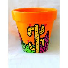 Resultado de imagen para macetas pintadas Decorated Flower Pots, Painted Flower Pots, Painted Pots, Clay Pot Crafts, Diy And Crafts, Cement Pots, Cactus, Mexican Art, Terracotta Pots