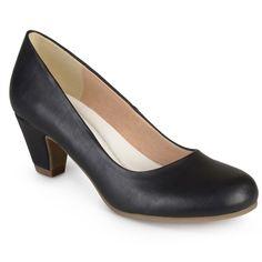 Women's Journee Collection Round Toe Comfort Fit Classic Kitten Heel Pumps - Black 6.5
