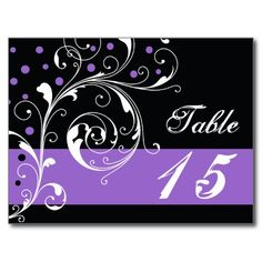 Scroll leaf black purple wedding Table number Post Cards