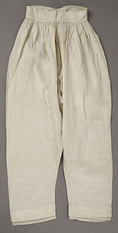 1846  Pantalets or Drawers, American or European.    White linen.                               metmuseum.org                                    suzilove.com