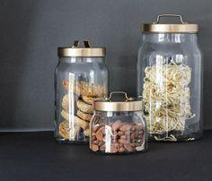 Ikea BURKEN jars: lids (spray) painted gold