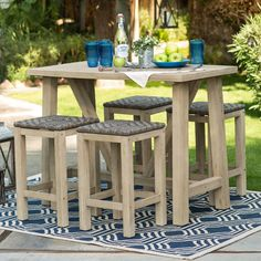 Outdoor Dining Table Set Patio Wood 5 Pcs Furniture Bar Height Stool Wicker Pool #BelhamLiving