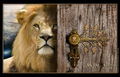 ~J Ancient Gates Psalms 24:7 Prophetic Art of David Munoz In this image the Lion of Judah is showing his Kingdom, because the doors are open now. The door knob has his face and on the key hole the blood is pouring out ( the blood is the Key ) over the cross and an olive branch is a hinge that holds the wood and the knob together in one piece. The wood represents Mankind that through the anointing oil, accepts the Blood as a key to the kingdom.