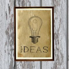 Idea bulb print on handmade antique paper. Very nice 8.3 x 11.7 (A4) antiqued decoration for your home and office.  Paper for each print is individually