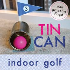 Make an indoor golf game with a tin can and tube golf club. fun activity, indoor activity, gross motor skills - Brought to you by Chevrolet Traverse Fun Rainy Day Activities, Rainy Day Fun, Elderly Activities, Senior Activities, Indoor Activities For Kids, Indoor Games, Senior Games, Rainy Days, Exercise Activities