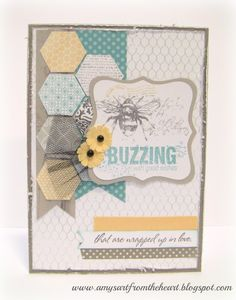 Buzzing bee and honeycomb handmade card. Using Close to My Heart Stamps