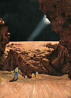 Chesley Bonestell - The Hole in the Moon, 1952.