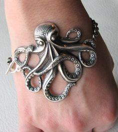 octopus bracelet  silver SALE 20 off by friendlygesture on Etsy, $16.00