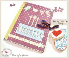 Tutorial recetario scrapbooking altered notebook.  Notebook recipes. Cuaderno de cocina. Libro alterado.