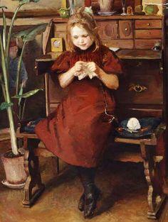 Viggo Johansen (Danish painter) 1851 - 1935 Interiør med en Lille Pige, der strikker (Interior with a Little Girl Knitting), s.d. oil on canvas 58 x 44 cm. private collection  The girl on the painting is likely the painter's daughter.