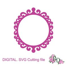 Round Frame silhouettes SVG DXF Vector Cutting file, papercutting die cut for Silhouette Cameo Cricut cutter EasyCutPrintPD