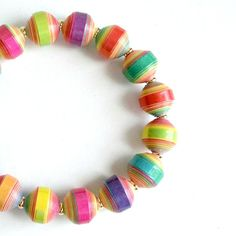 Neon Multicolor PAPER BEAD Bracelet  shipping included ♥ by itsmolly, $18.00