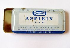 1941 Rexall Aspirin Tin Advertising Collectible by ZenGirlAntiques, $9.99