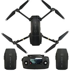 Skin for DJI Mavic Pro Waterproof Carbon Fiber Decorative Sticker Decal Skin Wrap Cover Kit Drone Body, Remote Controller, Battery and Arms by Shiloh-E Tech (Fiber black):   BFeatures :/BBr Only compatible with DJI MAVIC.Br The carbon fiber vinyl used is high quality and is rated for outdoor use. 3D appearance that makes it look identical to real carbon fiber.Br Easy to install,simple application and removal without damage to your DJI MAVICbrbr Specification:/bbr Product Name: /bDJI MA...