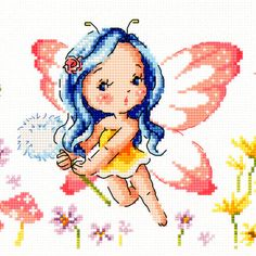 Farfalla Elf - Cross stitch pattern libro. Grande grafico. SODAstitch SO-G79 - W 389count × H 82count - contiene tabella con simboli e conversioni Floss per DMC, ANC e Yeidam di colore. -Un volantino nuovo mai usato - è venuto da una casa di fumo libera. -Fabbricato in Corea. SODA