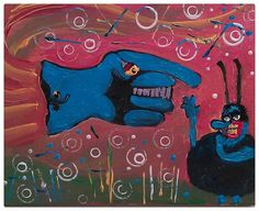 FLYING GLOVE qith BLUE MEANIE 11 x 14 acrylic on canvas Gregory McLaughlin whateverway@comcast.net