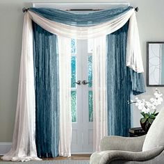 Blue White Scarf Curtains