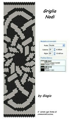 Giogiò & Co: Grids / Peyote Stitch Pattern Peyote Beading, Beaded Bracelet Patterns, Peyote Stitch Patterns, Seed Bead Patterns, Beading Patterns, Beading Tutorials, Stitch Crochet, Weaving, Seed Beads
