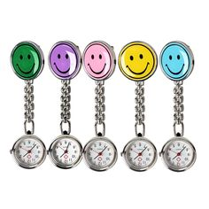 Round Smile Face FOB Watch Doctor Nurse EMT Healthcare Clip On Watch