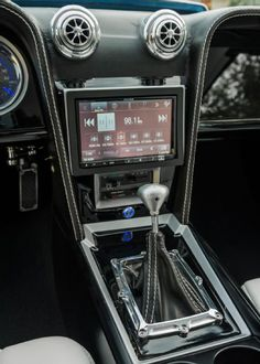 Custom Built and Supercharged 1972 Chevrolet Chevelle. bentley interior dash console door panels black blue white