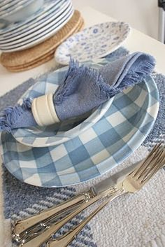 blue gingham dishes