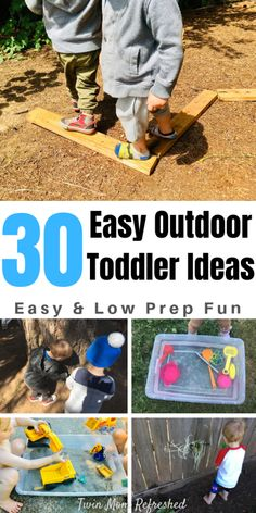 Easy Outdoor Toddler activities that require little or no prep. Fun and engaging outside activities from sensory activities to gross motor activities perfect for 2 year olds, 3 year olds, 4 year olds, and up! Source by twinmomrefreshed and me activities Outdoor Activities For Toddlers, Activities For 2 Year Olds, Outside Activities, Motor Skills Activities, Toddler Learning Activities, Montessori Activities, Infant Activities, Summer Activities, Educational Activities