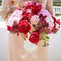 Red, pink and white flowers