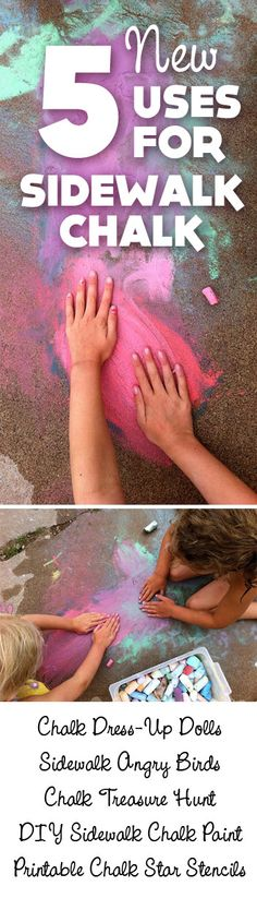 {Kids + Chalk = Fun} These ideas are awesome. What a great way to play and welcome spring. Love it.