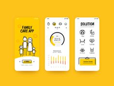 care Family care blood pressure cute yellow data chart solution care app health interesting mobile app illustration icon design uiYellow (disambiguation) Yellow is a color. Design Web, App Ui Design, Icon Design, Flat Design, Dashboard Design, Site Design, Application Mobile, Application Design, Mobile App Design