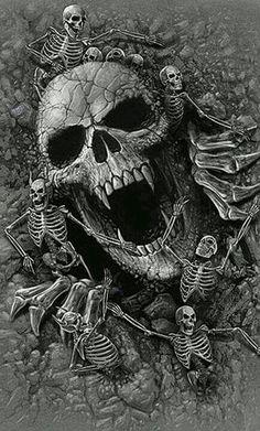 Spiral Direct SKULLS COVE t-shirt/top grey, biker/tattoo/horror/skeleton/bones Arte Horror, Horror Art, Skull Tattoos, Body Art Tattoos, Dark Fantasy Art, Dark Art, Bauch Tattoos, Totenkopf Tattoos, Skull Art