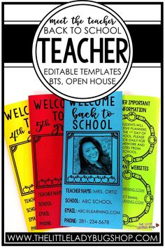 Easily introduce yourself to your students and their families with a Meet the Teacher brochure! These editable templates are so easy to use and include examples and ideas for you to get started. Once you're done editing, you can send use your Meet the Teacher page digitally or print it to send home. This is a must have for back to school night, open house, or the first day of school! #thelittleladybugshop