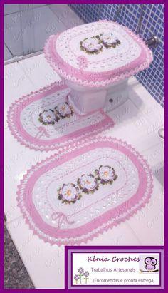 Jogo de banheiro | croche | branco e rosa