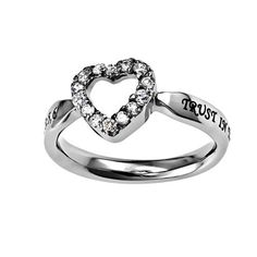 """Christian Womens Stainless Steel Abstinence 3mm Proverbs 3:5 """"Trust In The Lord With All Your Heart"""" CZ Open Heart Solitaire Chastity Ring for Girls - Girls Purity Ring - Comfort Fit Ring, http://www.amazon.com/dp/B00F48CQRS/ref=cm_sw_r_pi_awdm_K-RGtb075T6E0"""