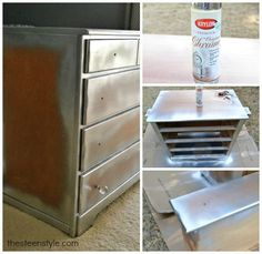 Chrome spray paint and cut to fit mirrors, will make this one cool night stand!