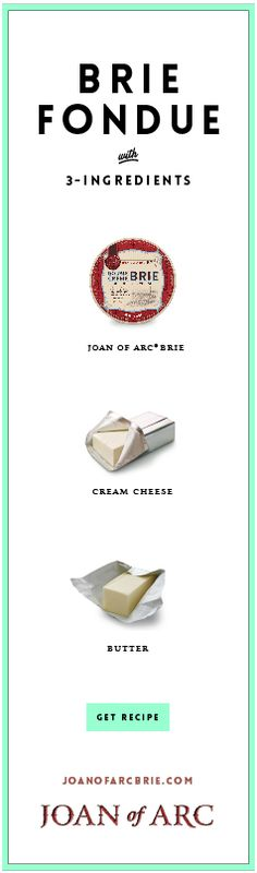 Brie Fondue. So good, so easy, and so elegant! This site also has a ...