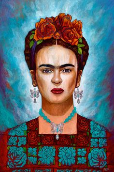Frida y sus Mariposas – Giclee on Canvas Mounted on Wooden Block – Best Painting Frida Kahlo Artwork, Frida Paintings, Frida Kahlo Portraits, Frida Art, Frida And Diego, Mexican Artists, Diego Rivera, Portrait Art, Watercolor Art
