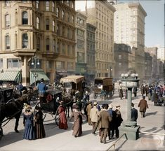 STREETSCAPE: New York City, 1905 [colorized] Hi Def