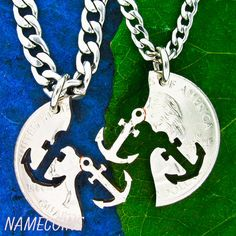 Anchor Necklace, Best friends necklaces, Relationship Interlocking Halves Quarter, Puzzle, Couples, anniversary,hand cut coin