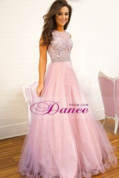 2015 Scoop Prom Dresses Beaded Lace Bodice A Line Tulle Floor Length
