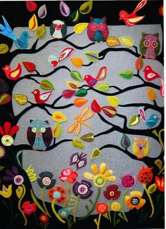 wool felt applique wall hanging