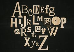 Wooden Alphabet Set, Unfinished Wood Letters in Mixed Fonts and Sizes, Clean and Simple. $69.00, via Etsy.