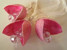 SILK LOVE FLOWERS and crystals jewelry set of silk cocoons and pink crystal beads, earrings and pendant, painted in cyclamen, hot pink