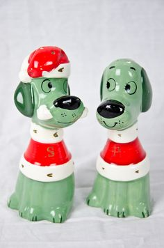 Vintage Salt & Pepper Shaker Christmas Puppies