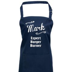 Our Expert Burger Burner Personalised Apron makes a fun gift for a dad, husband or partner (or even wife or girlfriend!) who insists on taking over the BBQ. only to burn the burgers! How To Make Aprons, Aprons For Men, Waitress Apron, Teacher Apron, Black Apron, Personalized Aprons, Christmas Aprons, Custom Aprons, Apron Designs