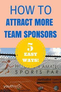 Use our 5 easy ways to help attract more team and league sponsors for your sports organization: https://www.youthletic.com/general/articles/5-ways-to-attract-more-sponsors-for-youth-sports?utm_source=pinterest&utm_medium=social&utm_campaign=organic_promotion