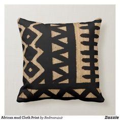 Abstract African Mud Cloth Throw Pillow - decor gifts diy home & living cyo giftidea Custom Pillows, Decorative Pillows, African Home Decor, African Interior, Boho Throw Pillows, Accent Pillows, African Mud Cloth, African Art, African Design