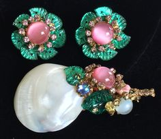 Vintage Miriam Haskell Brooch Earring Set~Mother Of Pearl Sea Shell/Glass/RS #MiriamHaskell