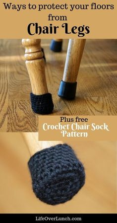 Ways to Protect Your Floors from Chair Legs (plus free chair sock pattern) Products I've used to cover my chair legs and protect the floor from scratches. My crochet chair sock leg is also included for free! Crochet Diy, Crochet Home, Crochet Gifts, Learn To Crochet, Crochet Summer, Crochet Granny, Crochet Motif, Hand Crochet, Crochet Socks Pattern