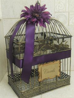 Birdcage wedding card holder - do you like the purple ribbon and flower?
