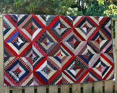 Patriotic String Quilt...love the variety of fabrics